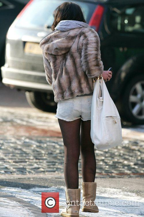 Helen Flanagan seen outside a studio wearing short...