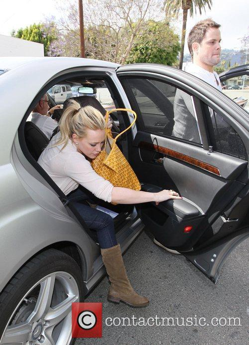 Hilary Duff, Her Fiance, Mike Comrie, A Canadian Professional Ice Hockey Player and Are Dropped Off At Hillary's Mercedes Suv After Being Taken To Look At Furniture By A Salesman. 1