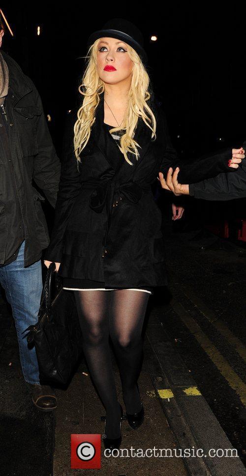 Christina Aguilera outside of Hix restaurant in Soho...