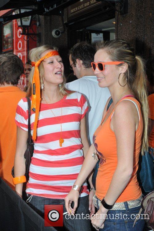 Dutch football fans gather at the De Hems...