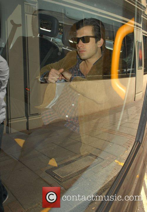 Mark Ronson in a taxi outside his London...