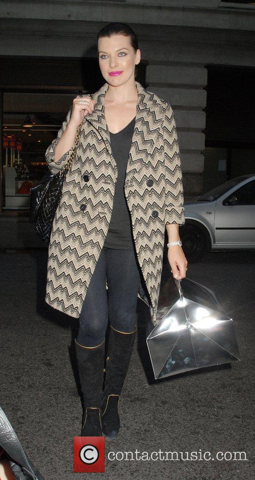 Milla Jovovich outside her London hotel London, England