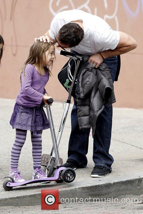 Hugh Jackman kissing his daughter Ava Eliot Jackman...