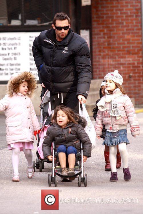 Ava Jackman and Hugh Jackman Hugh Jackman walking...