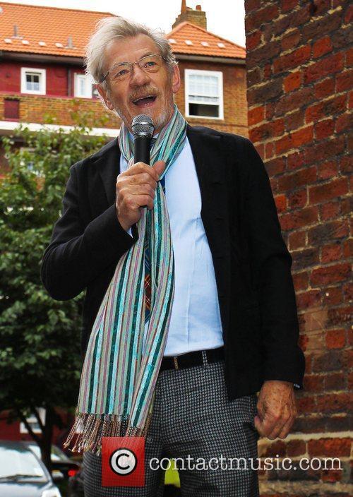 Sir Ian McKellen unveils a blue plaque in...