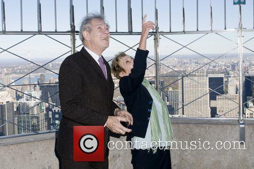 Sir Ian McKellan and Dena Hammerstein light the...
