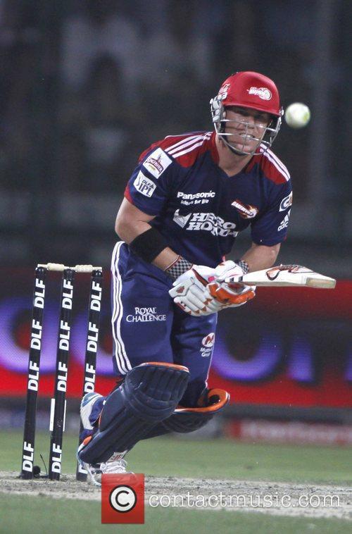Delhi Daredevils player David Warner play a shot...