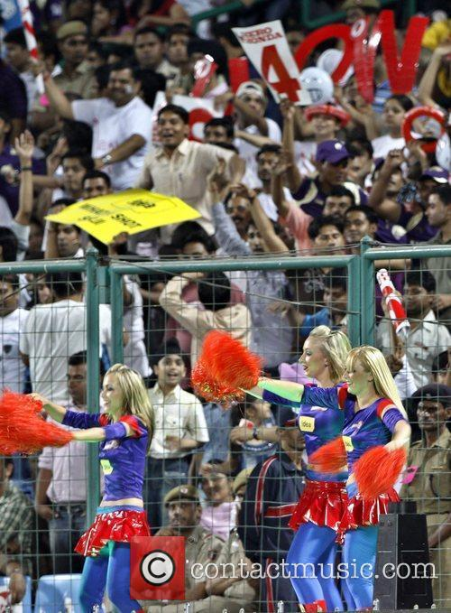 Delhi Daredevils cheerleaders celebrate after the wining the...