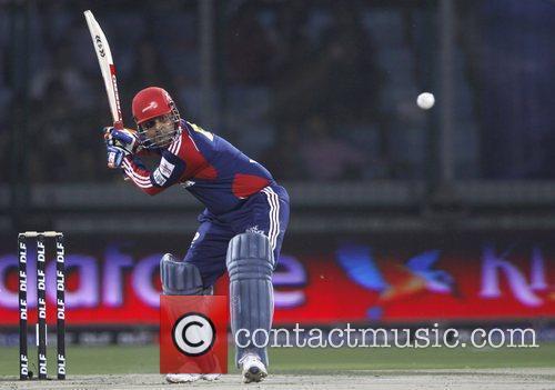 Delhi Daredevils player Virender Sehwag  during the...