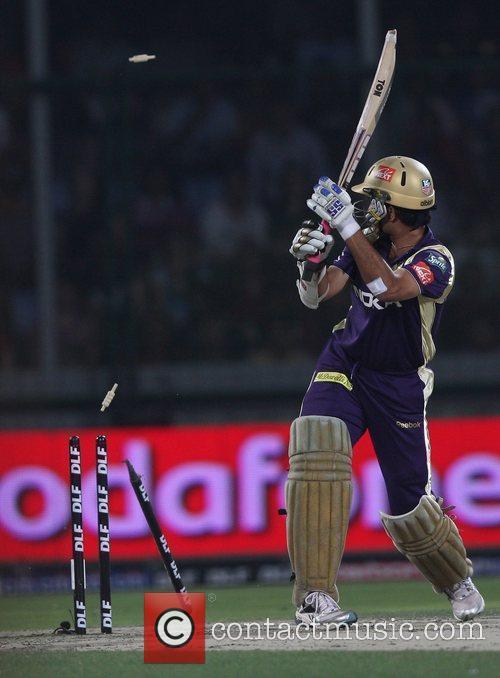 Kolkata Knight Riders captain Sourav Ganguly is bowled...