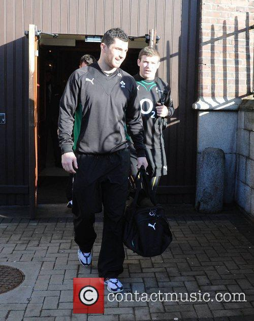 The Irish Rugby team leave their hotel and...