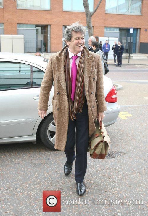Melvyn Bragg outside the ITV studios London, England
