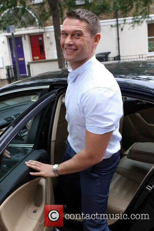 Seen leaving the ITV studios after presenting 'Good...