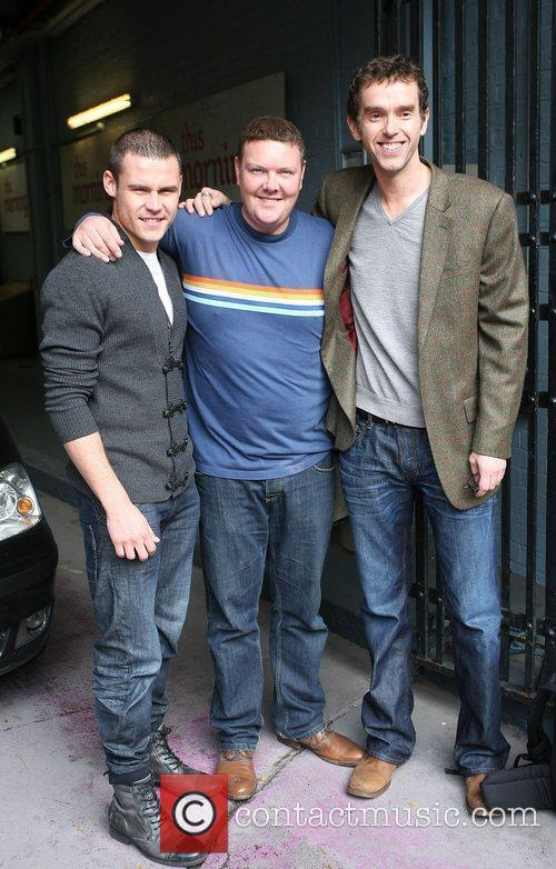 Danny Miller, Dominic Brunt and Mark Charnock outside...