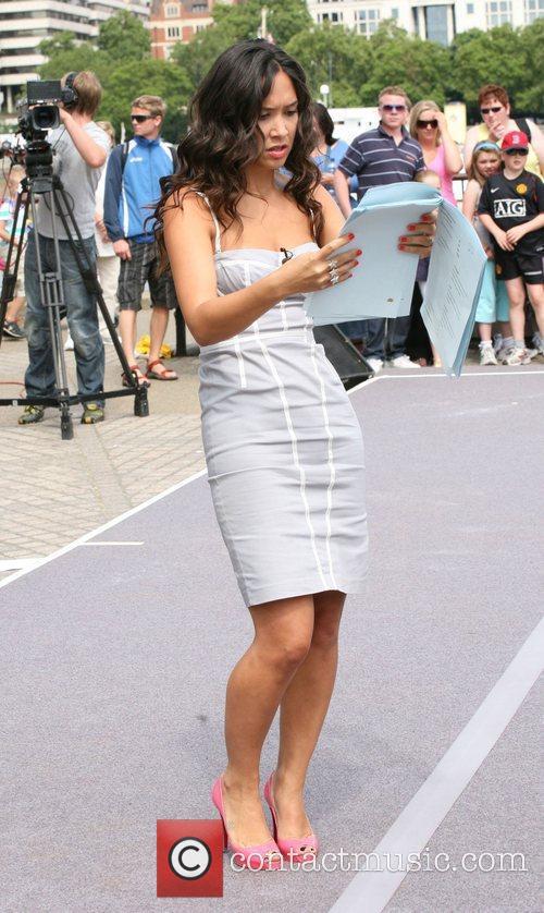 Myleene Class filming outside the ITV studios on...