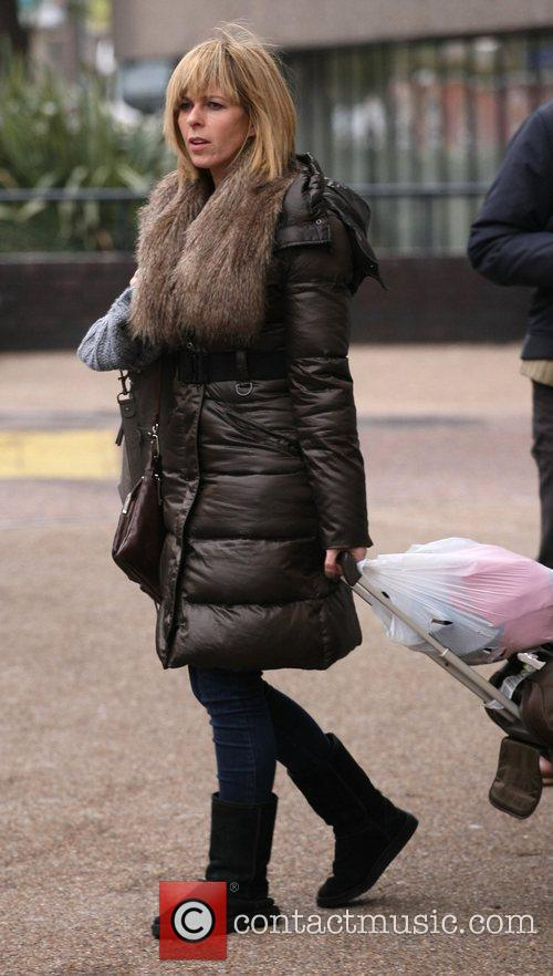 Kate Garraway leaves the ITV studios carrying a...