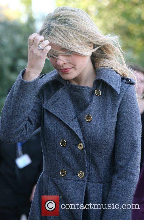 Holly Willoughby looking windswept outside the ITV studios...