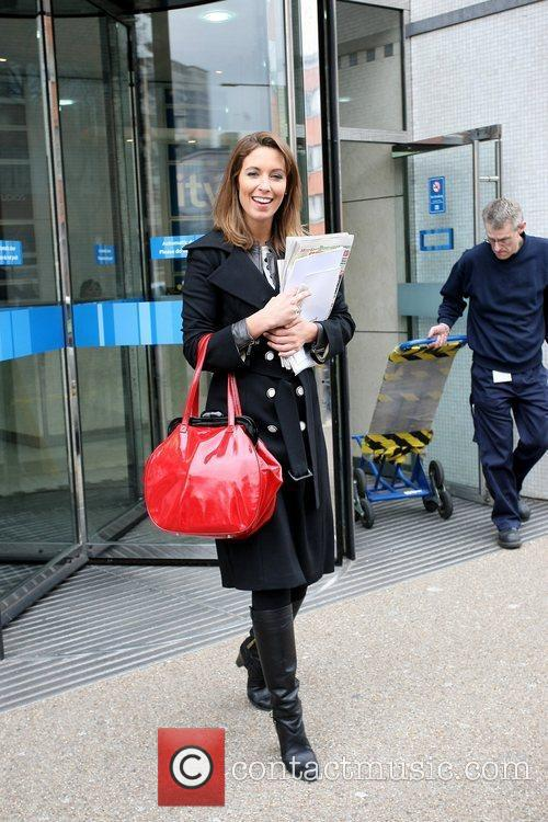 Outside the ITV studios carrying a red handbag