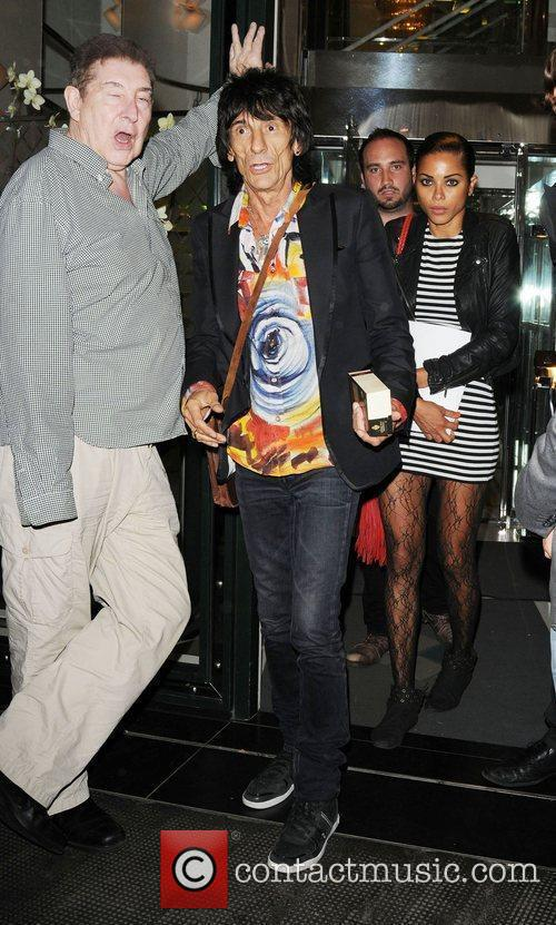 Ronnie Wood and Ana Araujo leaving the The Ivy Club in London's West End 1