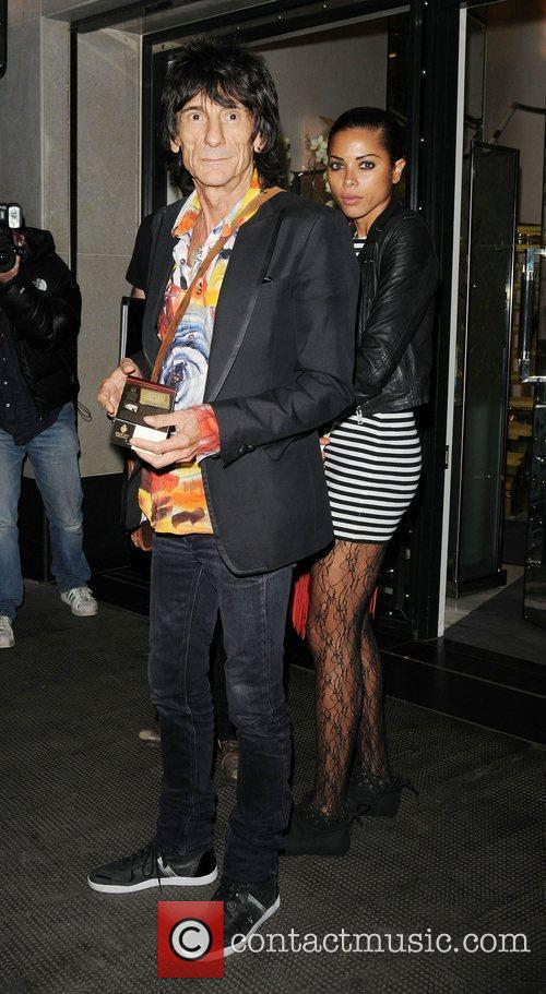 Ronnie Wood and Ana Araujo leaving the The Ivy Club in London's West End 4