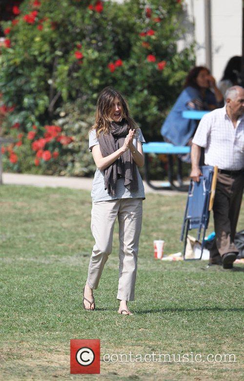 Adam Sandler's wife Jackie on the movie location...