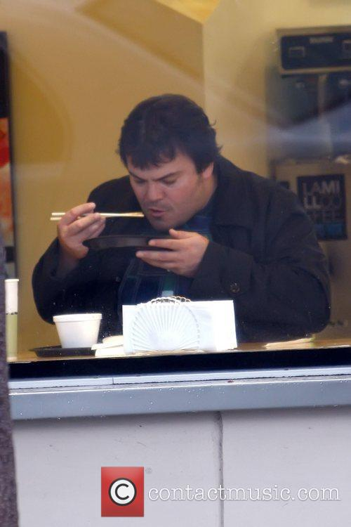 Jack Black eating Japanese food in Beverly Hills...