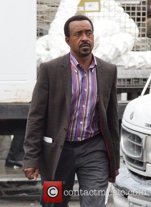 Don Cheadle on the movie set for the...