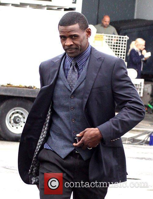 Michael Irvin on the movie set for the...