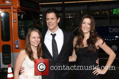 Johnny Knoxville (c) with daughter Madison, wife Naomi...
