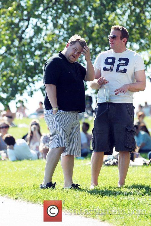 James Corden spends an afternoon relaxing with friends...