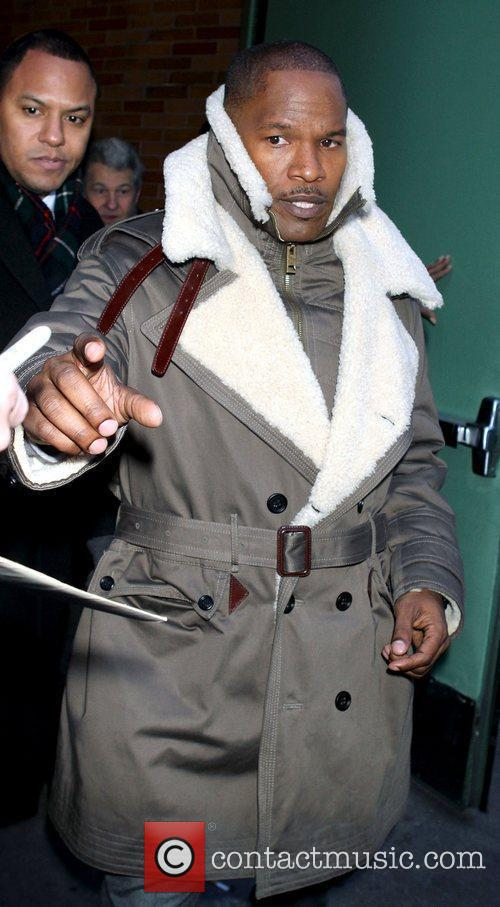 Jamie Foxx arriving to perform on Good Morning...