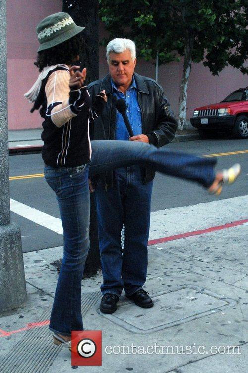 Jay Leno filming a segment for 'The Tonight...