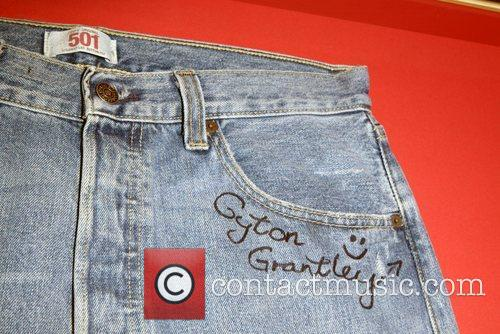 Denim jeans autographed by Gyton Grantley for Jeans...
