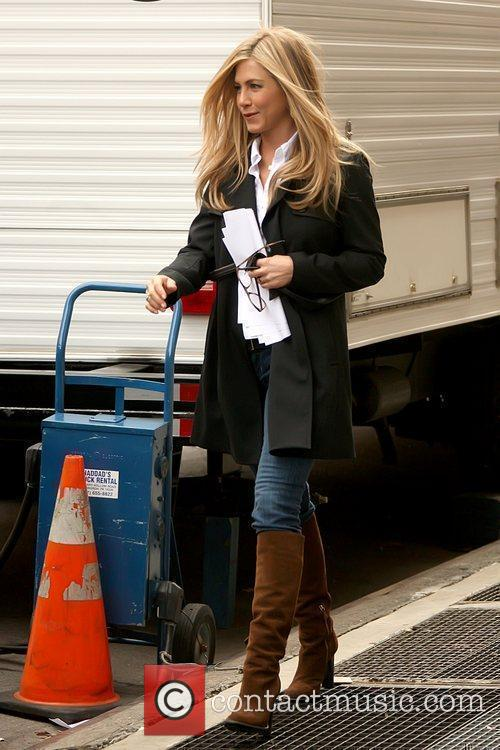 Jennifer Aniston leaving her trailer on the set...