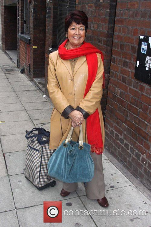 Ruth Madoc arriving at the Liverpool Empire Theatre...