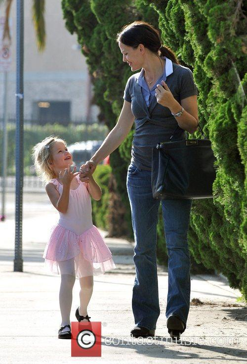 Jennifer Garner takes her daughter Violet Affleck, dressed...