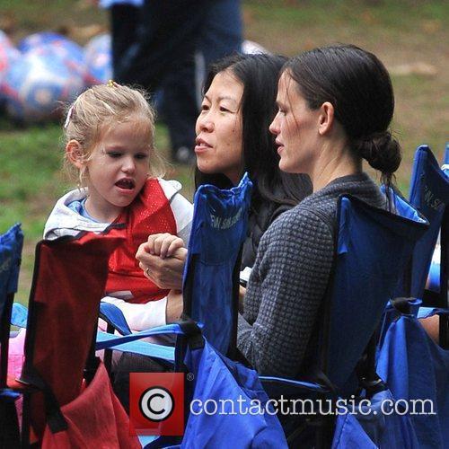 Jennifer Garner at soccer practice with her daughter...