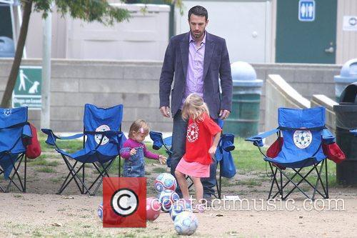 Ben Affleck watches his daughters playing soccer at...