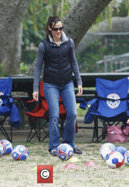Jennifer Garner watches her daughters playing soccer at...