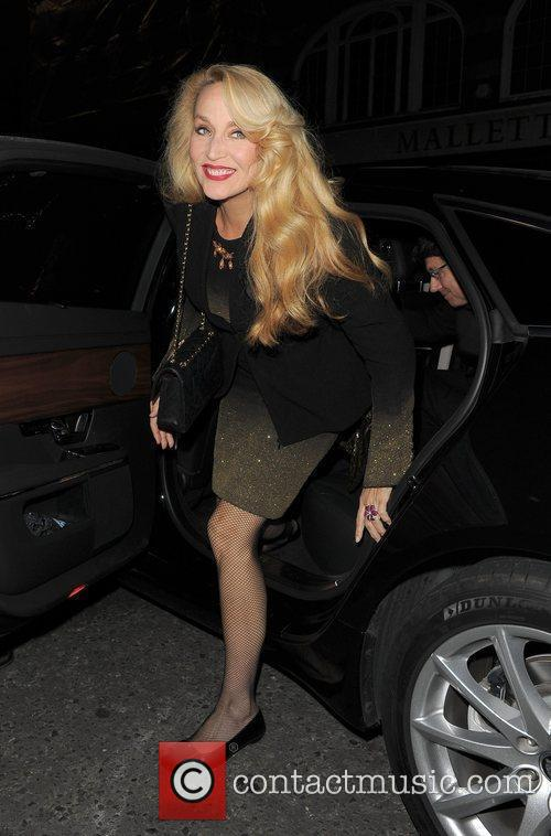 Jerry Hall arriving at a private party for...