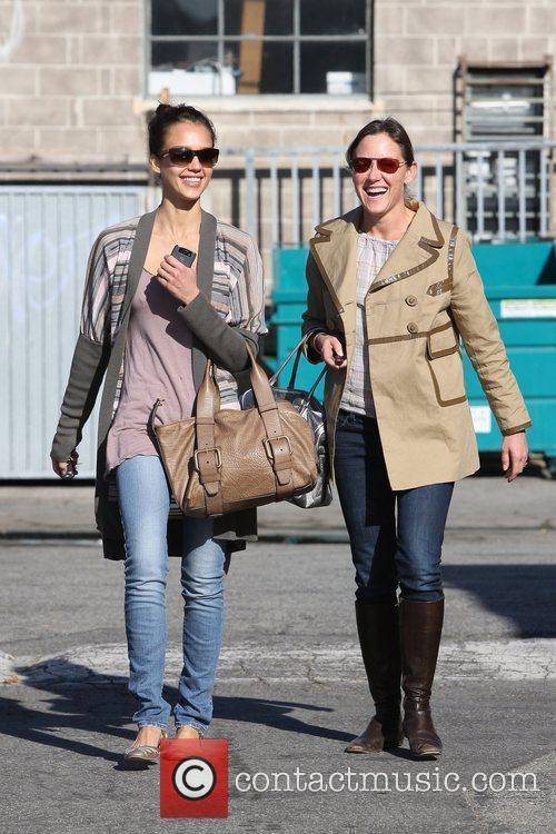 Jessica Alba leaves a studio in Santa Monica...