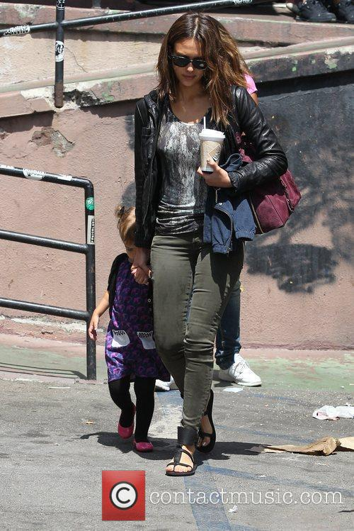Jessica Alba and Honor Marrie Warren outside the...