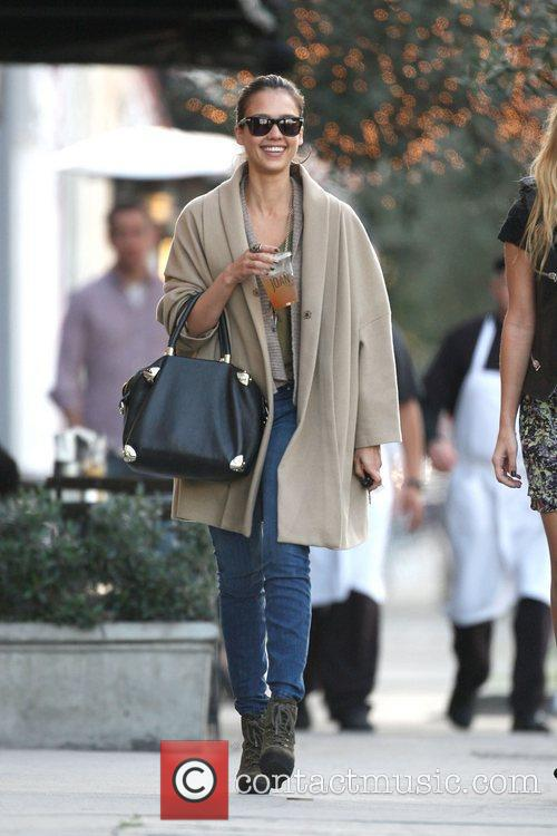Jessica Alba leaving Joan's on Third in West...