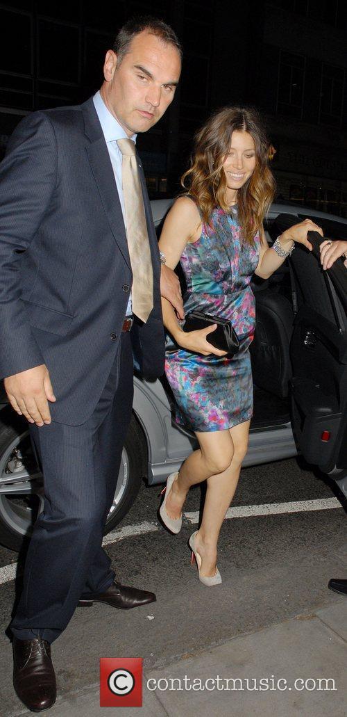 Jessica Biel arrives back at her hotel