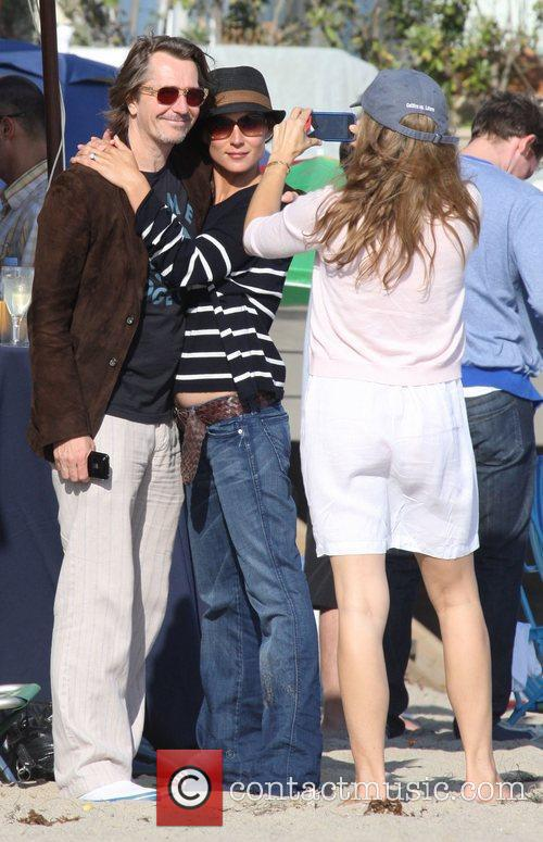 Gary Oldman and Jane Carrey On Malibu Beach