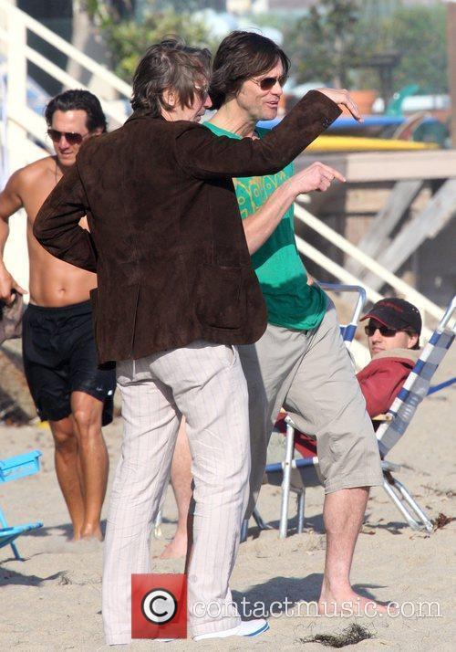 Jim Carrey with Gary Oldman on Malibu Beach...