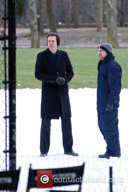 Jim Carrey filming in the snow his new...