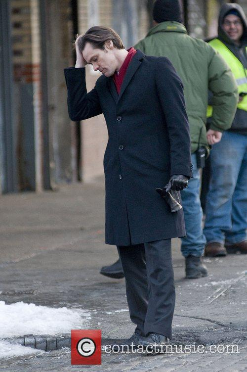 Jim Carrey filming 'Mr. Popper's Penguins' on location...
