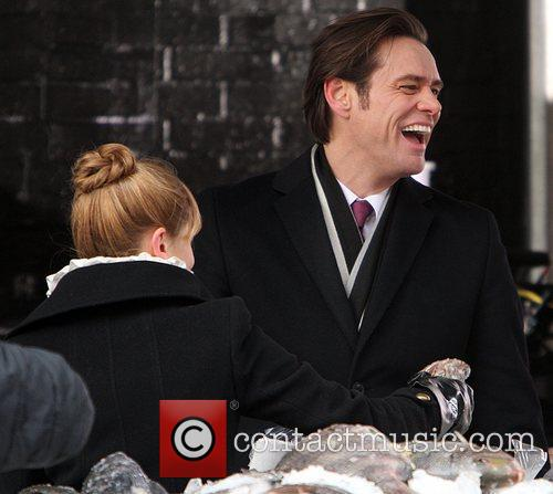 Jim Carrey and Ophelia Lovibond  filming 'Mr....