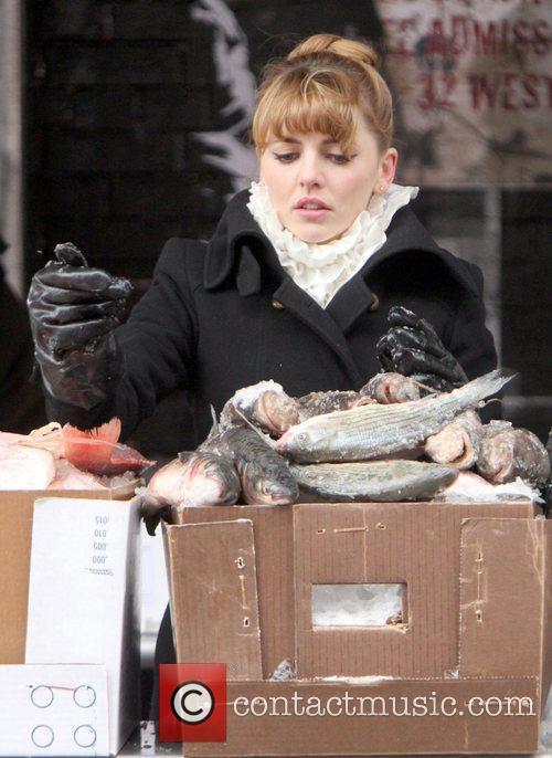 Ophelia Lovibond  filming 'Mr. Popper's Penguins' on...